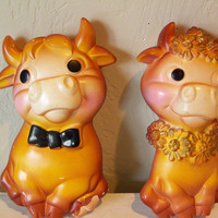 Vintage Cows Chalkware Borden CowsPair of by TheTravelingOwlShop
