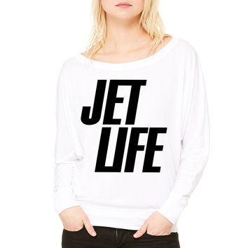 Jet Life jet life WOMEN'S FLOWY LONG SLEEVE OFF SHOULDER TEE