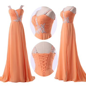 2015 New Stock Chiffon Evening Formal Party Ball Gown Prom Bridesmaid Long Dress