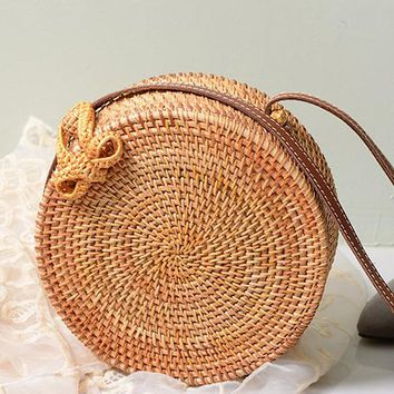B| Chicloth Handmade Rattan Woven Leather Round Tote