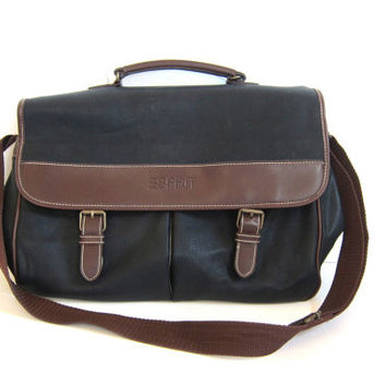 vintage 90s ESPRIT brown and black laptop computer messenger bag