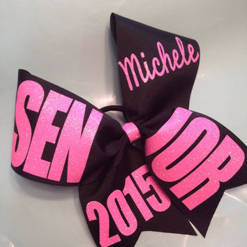 "Black Senior 2015, 2016 etc with name basic cheer bow 3"" ribbon"