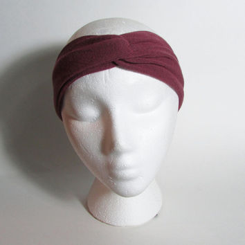 Hand Dyed Dark Red Turban Headband, Marsala Knot Headwrap, Head Band, Head Wrap, Knit Turbans, Womens Accessories, Hair Fashion Accessories