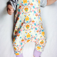 Harem style baby ropmer, Organic baby clothing, Winter baby romper, Harem style romper, Baby girl overall, hipster baby, Baby sweatsuit