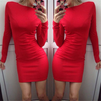 Plain Long Sleeve Bodycon Dress
