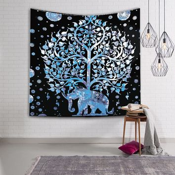 130*150cm Elephant Printed Mandala Bohemian Style Tapestry Woven Decorative Polyester Fabric Carpet Wall Tapestry Tablecloth