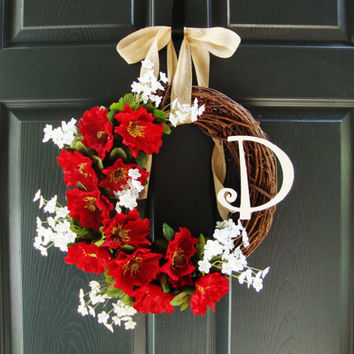 Red Poppy Wreath - Door Monogram - Personalized Wreath - Grapevine Wreath - Poppy Wreath - Door Wreath - Front Porch Decoration