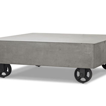 Modrest Darco Modern Concrete Coffee Table w/ Wheels