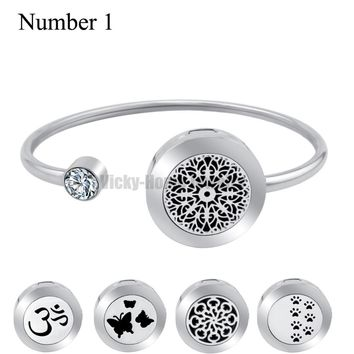 Wiggle Up and Down Snow 20mm  Aroma Locket Stainless Steel Essential Oils Aromatherapy Locket Bracelet with Magnet (Dropship)