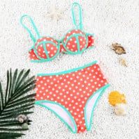 Multicolor Polka Dots Print High Waist Bikini Set Swimsuit Swimwear