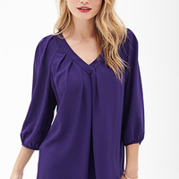 LOVE 21 Pleated V-Neck Blouse Purple