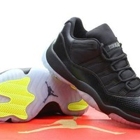 Cheap Air Jordan 11 Low Men Shoes Black Grey Yellow