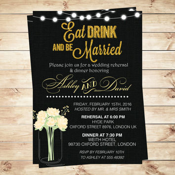Black and Gold Wedding Invitation Eat Drink and be Married, Mason Jar Wedding invitation, yellow mason jar, Art Party Invitation