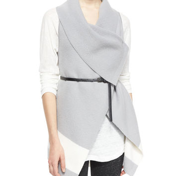 Ligiere Wool Colorblock Belted Vest, Size:
