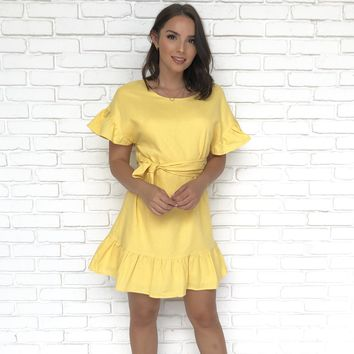 Recruitment Yellow Shift Dress