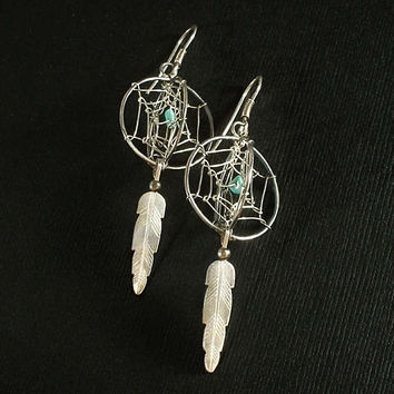 Vintage DREAM CATCHER Native American Turquoise EARRINGS Navajo Feather Sterling Earwires, 3-Dimensional Long Dangles Hallmarked c.1980s