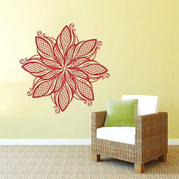 Wall Decal Vinyl Sticker Decals Art Home Decor Mural Mandala Ornament Indidan Geometric Moroccan Pattern Yoga Namaste Flower Om Bedroom AN32