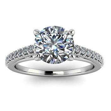 Cathedral Diamond Engagement Ring Setting Moissanite Center - Abigail