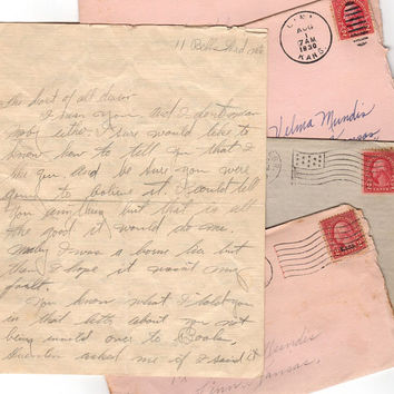 Antique Love Letter (1) Hand Written Love Letter Sweetheart Letter Old Correspondence Vintage Love Letter Linn Kansas Postmarked Envelopes
