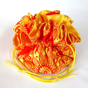 Jewelry Drawstring Travel Pouch  Gypsy Bandana Moon Tonal Kaleidoscope Orange