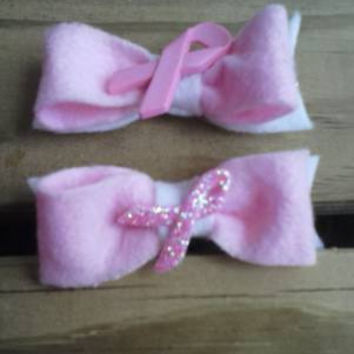 Breast Cancer Awareness Bow Clips (PAIR)