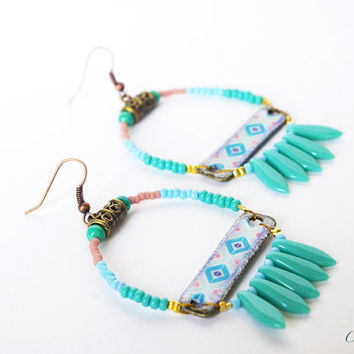 Indian beaded earrings , Cherokee Beaded Navajo Woman , Turquoise Earrings , Bohemian jewelry , Navajo Hoops