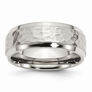 Men's Stainless Steel Beveled Edge Hammered and Polished Wedding Band Ring