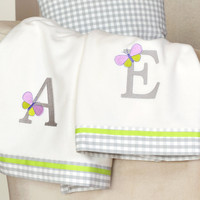 PERSONALIZED LETTER  embroidery baby fleece blanket, crib blanket