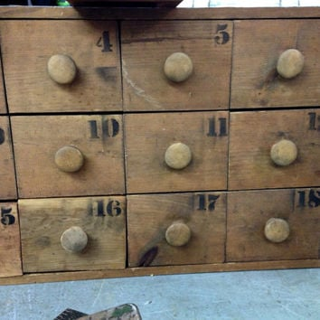 Vintage industrial apothecary cabinet wooden multi drawer storage  apothecary chest