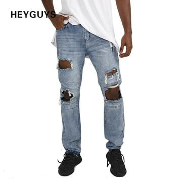 HEYGUYS 2018 fashion hole jeans hip hop street men damage  hip hop fitness mens flared trousers  denim jumpsuit jeans loose