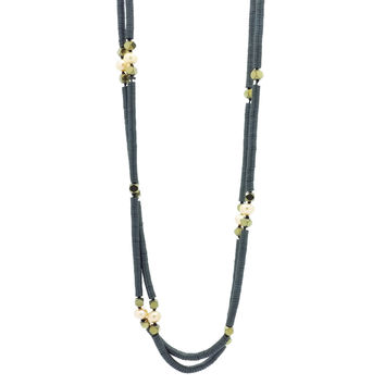 Geometric Composition in Pearls and Hematite - Necklace