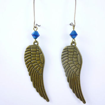 VictorianFolly SteamPunk Earrings, Wings in Antique Bronze finish and mid night blue Swarovski Crystal