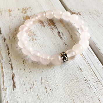 Genuine Rose Quartz Bracelet w/ Sterling Silver Charm