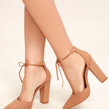 Steve Madden Pamperd Tan Nubuck Leather Block Heel Pumps