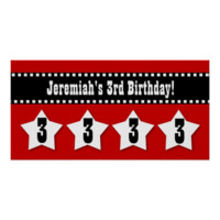 3rd Birthday Banner with Stars Custom Name V03S Poster