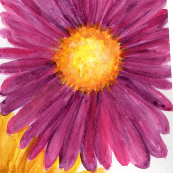 Yellow Daisy, Purple Daisy watercolor painting on Aqua , Original Watercolor  Daisy ART