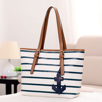 Bags Korean Fashion Stripes Tote Bag Stylish Casual Navy Shoulder Bags [6580926727]