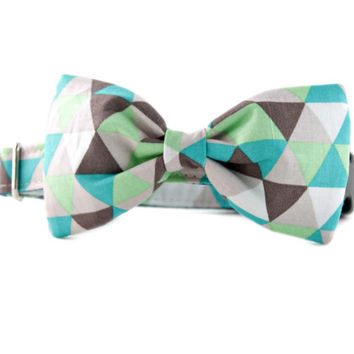 Bow Tie Dog Collar - Taupe and Green Diamonds Bow Tie Dog Collar  - Bowtie for dogs - dog wedding attire - fancy dog collar - boy dog collar