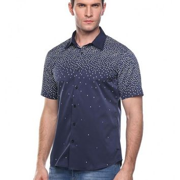 Dark Blue Men's Casual Turn Down Collar Short Sleeve Print Button Shirt