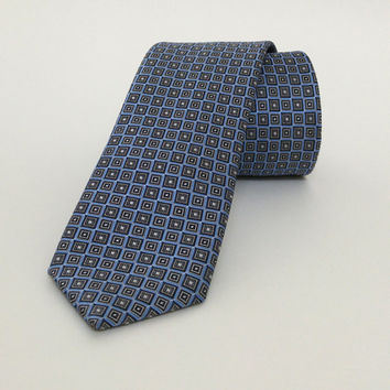 "Blue Skinny Tie 2.36"" (6 cm) Blue spotted tie - Blue spotted necktie - Blue spotted cravat - DK640"