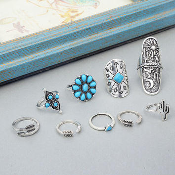 Old Silver Ring 9Pcs