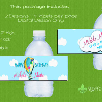 Bottle Labels-DIY-Custom-Personalized-UP UP & Away-Hot Air Balloon
