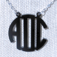 Free Shipping! Black Circle Monogram Acrylic Necklace 1.5 inch (Many Colors Available)