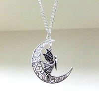 Silver Moon and Angel Necklace, Crescent Moon Necklace, Celestial Necklace, Angel Jewellery, Moon Jewellery, Protection Necklace,Angels,Gift