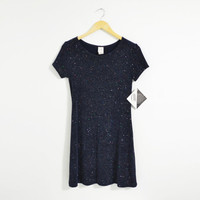 Vintage 90s Navy Sparkle Glimmer Glitter Fun Mini Dress Party Night Out New With Tags Size Womens XSmall
