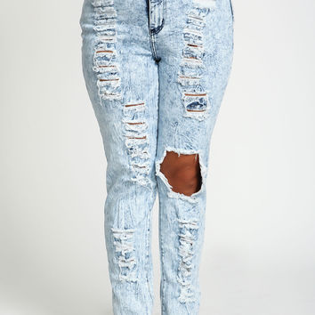 Plus Size Destroyed Acid Wash Jeans