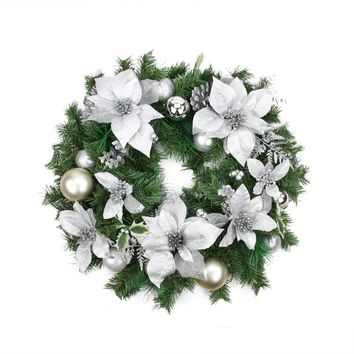 """24"""" Pre-Decorated Silver Poinsettia Pine Cone and Ball Artificial Christmas Wreath - Unlit"""