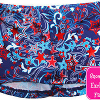 NEW!! Patriot Gymnastics Workout Shorty Shorts by Snowflake Designs