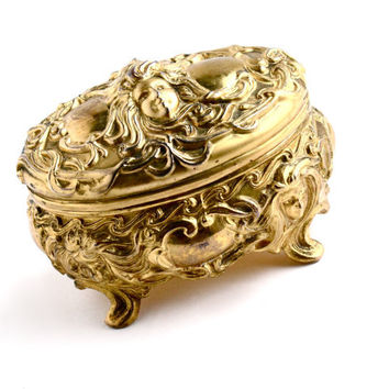 Antique Art Nouveau Jewelry Casket Box - Edwardian Gold Tone Art Metal Trinket Box Signed B&W Brainard Wilson / Woman with Flowing Hair