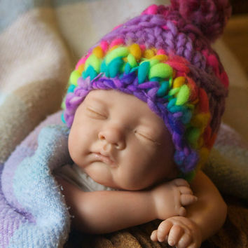 Hand knitted purple & rainbow hat hand-dyed detail, 100% wool - gift or photo prop - Knit Baby Child Girl Boy Adult Hat Clothing, all sizes